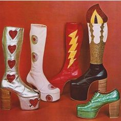 When vintage platforms inspire you to live your best life 💦 Which pair are you? We're definitely the silver boots with red glitter hearts 💘