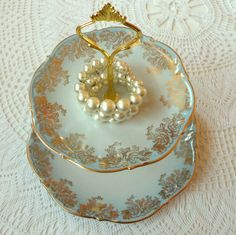 Gold roses on gradient blue vintage china plates from Bavaria--a sweet 2-tiered stand for tea, cupcakes or jewelry by High Tea for Alice