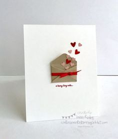 Simple Little Valentine (Confessions of a Stamping Addict) - want to do. - Simple Little Valentine (Confessions of a Stamping Addict) Simple Little Valentine Valentine Crafts, Valentine Day Cards, Homemade Valentine Cards, Ideas For Valentines Day, Valentines Presents, Printable Valentine, Handmade Birthday Cards, Diy Birthday, Birthday Gifts