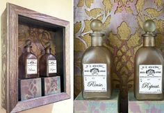 Bathroom Decorating Rx: Stenciled Shadowbox Apothecary Bottle Display - Paint + Pattern
