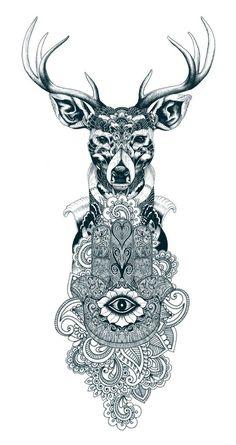 tattoo, sketch, deer, animal, nature