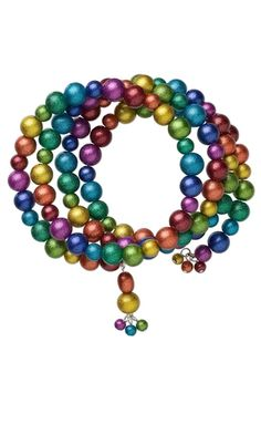 Rainbow progression with varying size beads/pearls