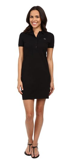 Lacoste Short Sleeve Pique Polo Dress (Black) Women's Dress - Lacoste, Short Sleeve Pique Polo Dress, EF8078-031, Apparel Top Dress, Dress, Top, Apparel, Clothes Clothing, Gift, - Fashion Ideas To Inspire