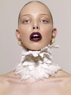 Feathered Chokers - This Peter Farago editorial for Vs. Magazine is called 'Mad D,' and features model Tanya Dziahileva showcasing a range of, well, bizarre . Tanya Dziahileva, Foto Fashion, Street Fashion, Body Adornment, Neck Piece, Fabric Manipulation, Fashion Details, Couture Details, Makeup Inspiration