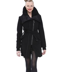Black Double-Collar Belted Jacket