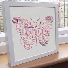 Personalised Print. Butterfly Word Art. New baby by AliChappellUK, £16.00