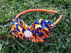 Florida Gators Shabby Chic Rosette Headband --- Rhinestone Gators Headband --- Big Girl Headband  --- Fits toddlers to adults on Etsy, $12.99