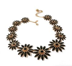 Kate Spade Enamel Flower Necklace  Black Enamel Tiered Daisies  Gold Plated  Graduated Sizes  Black Crystal Stones  Adjustable Chain Vintage