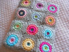 crocheted blanket + nice colors!