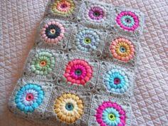 crocheted blanket + nice colors!