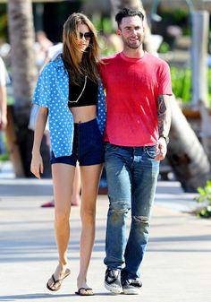 Hawaiian Hotties Adam Levine and fiancee Behati Prinsloo took a romantic stroll in Hawaii Dec. 8.