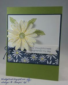 Windy's Wonderful Creations: Thoughtfulness Daisy, Stampin' Up!, Delightful Daisy DSP, Daisy Delight