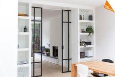 Sliding Pocket Doors - November 22 2018 at Living Room Divider, Home Living Room, Living Spaces, Home Interior Design, Interior Architecture, Door Makeover, House Roof, Innovation Design, Interior Inspiration