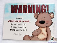Wash Your Hands Sign for Home with TWINS, Twin Healthy Home Bathroom, Kitchen or Door Sign #twins #baby #etsy #handmade