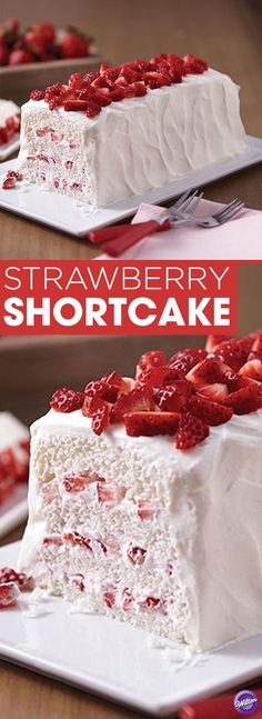 Strawberry Shortcake Recipe - Layer fresh strawberries, angel food cake, and whipped cream for a sweet, but light dessert to enjoy with friends and family! Makes about 10 servings.