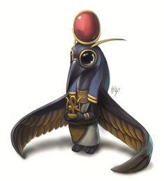 Lil' Thoth, Sobek, Bastet, Anubis, and Horus by Egyptian Mythology, Egyptian Goddess, Egyptian Art, Egyptian Jackal, Egyptian Things, Egyptian Drawings, Egyptian Isis, Cute Creatures, Fantasy Creatures
