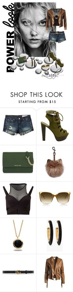"""Love my shorts"" by zevahcmary ❤ liked on Polyvore featuring rag & bone/JEAN, MICHAEL Michael Kors, Miss Selfridge, Marlin Birna, Chico's, Gucci and Sans Souci"