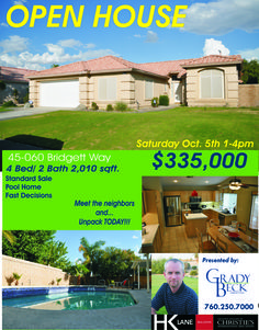 OPEN House... TODAY!!! Come and see this amazing home in established north La Quinta. It is guaranteed to please. Bring the family and invite your friends to this trusted neighborhood. Close to schools and houses of worship. It is a community to belong to. Nicely appointed with stainless appliances. Step out to the backyard and prepare to refresh yourself on those hot afternoons or even a midnight dip in the pool. Present your offers quickly it is sure not to last.