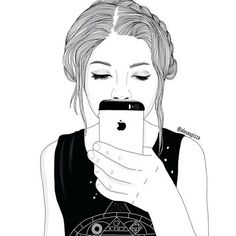 black, cartoon, draw, girl, phone - image #3787824 by helena888 on ...