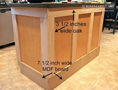 Today I am going to share with you the tutorial on how Mr. Rosemary Lane created… Today I am going to share with you the tutorial on how Mr. Rosemary Lane created a new look for our rather boring kitchen island for j… Kitchen Island Makeover, Diy Kitchen Island, Kitchen Redo, New Kitchen, Kitchen Cabinets, Kitchen Ideas, Cheap Kitchen, Kitchen Island Molding, How To Build Kitchen Island