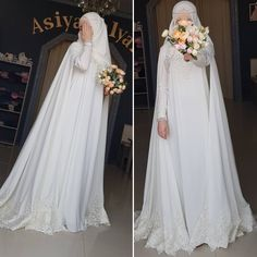 Simple yet elegant, Masha Allah Wedding Abaya, Wedding Hijab Styles, Muslimah Wedding Dress, Muslim Wedding Dresses, Princess Wedding Dresses, Dream Wedding Dresses, Boho Wedding, Gothic Wedding, Floral Wedding
