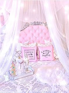 Pink bed white chiffon canopy with lights Dream Rooms, Dream Bedroom, Girls Bedroom, Bedroom Decor, Pink Bedrooms, Bedroom Ideas, My New Room, My Room, Deco Rose