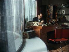 Poirot's flat, living room, office area, amazing Art Deco style Agatha Christie's Poirot, Hercule Poirot, Death In The Clouds, Art Nouveau, Miss Marple, Detective Series, Apartment Living, Living Room, Art Deco Fashion