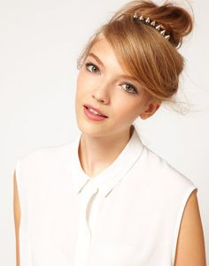 Studded hair comb from ASOS.  Spikes and studs on hair accessories for fall 2012 http://www.glamour.com/beauty/blogs/girls-in-the-beauty-department/2012/08/the-newest-trend-in-hair-acces.html#