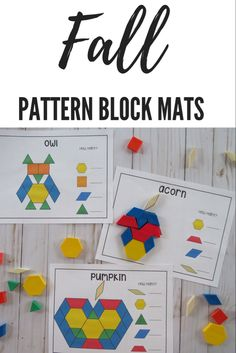 Fall Pattern Block Mats- Perfect for Math Centers, Morning Tubs, or Early Finishers Preschool Activities At Home, Fall Preschool, Autumn Activities, Fall Patterns, Halloween Patterns, Block Center Preschool, Early Years Teaching, Homework Club, September Themes