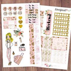 Rose planner stickers kit| for erin condren planner stickers| happy planner stickers| life planner stickers| girl mini kit| MK005