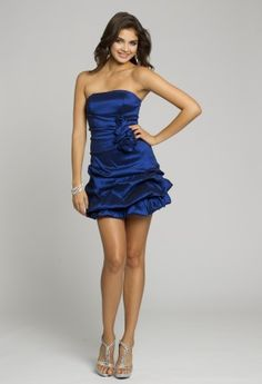 Homecoming Dresses - Taffeta Rosette Pick-Up Strapless Short Dress from Camille La Vie and Group USA
