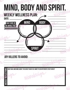mind body spirit: weekly wellness plan by microdesign on Etsy