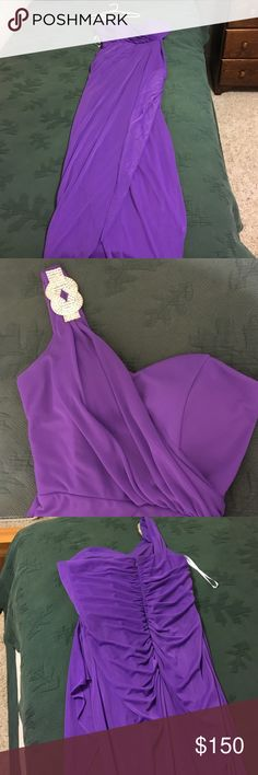 Dress Long purple dress. With one shoulder strap that has a diamond piece. Worn once! Great for proms, dances, or any elegant outing! Built in pads and zips in the back! Camille La Vie Dresses