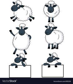 Sheep cartoon vector image on VectorStock Sheep Names, Tier Doodles, Sheep Drawing, Sheep Cartoon, Eid Stickers, Eid Crafts, Sheep Crafts, Sheep Art, Animal Doodles
