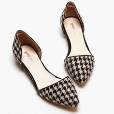 Simple Houndstooth and Flat Design Flat Shoes For Women, BLACK, 40 in Flats | DressLily.com