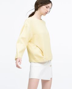 TOP WITH CONTRAST PIPED POCKETS-Sweatshirts-WOMAN | ZARA United States