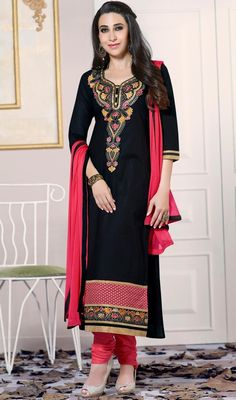 Be stunning like Karisma Kapoor wearing this black color cotton churidar suit. That you can see some fascinating patterns done with lace and resham work. #cottonblacksalwarsuit #fashionabledresses #yokeworkdress