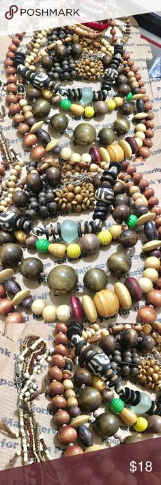 Costume wooden beads jewelry bundle. Vtg jewelry Costume jewelry bundle item wooden beads jewelry earring necklace bracelet ... All wearable (2241)🎈🎈🌿☘️🌿 #bundle jewelry #fashion jewelry #Random charm for jewelry make #beads jewelry# #vintage jewelry #rhinestone jewelry #crystal jewelry #gold jewelry #silver jewelry #jewelry sets #wooden Beads jewelry #wooden necklace #accessories # 🌿☘️ $18 Jewelry Necklaces