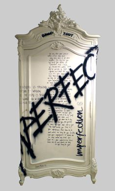 this formal wardrobe/armoire with this graffiti. Yes, please!! (by Jimmie Martin) #armoire #graffiti