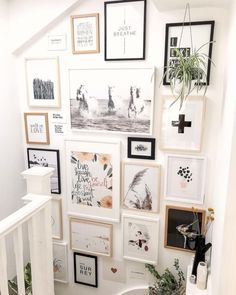 Opposite Wall: Art Posters and Frames- Minimalist Wall Art Prints We absolutely adore this staircase Gallery Wall by Cause we now have natural white & black oak frames too. Want to try this at home? Check out our DIY Size Guide. Gallery Wall Staircase, Gallery Wall Frames, Art Gallery, Staircase Wall Decor, Black Frames On Wall, Staircase Frames, Modern Gallery Wall, Black And White Frames, Staircase Ideas