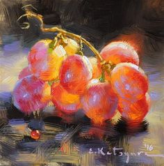 "Daily+Paintworks+-+""Crimson+Seedless""+-+Original+Fine+Art+for+Sale+-+©+Elena+Katsyura"