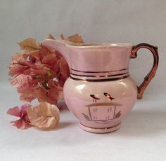 antique pink copper lustre pitcher with a by sophisticatedflorida