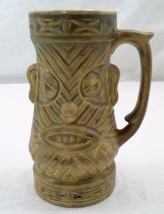 "1960s Westwood Ceramic 6.75"" T Tribal Chewbacca Fierce Tiki Mug Grog Cup Stein"