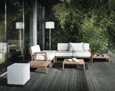 modern patio design bamboo trees and patio lounge furniture