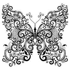 tattoo schmetterling: Dekorative Fantasie lacy vintage butterfly isoliert auf weiß Illustration