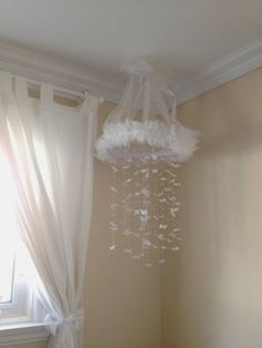 White Butterfly & Pearl Mobile.  Shabby chic and super girly!