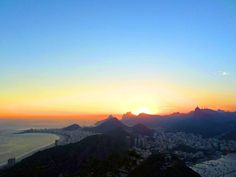 To this day - still my favourite place on earth!  The view at sunset from Pão de Açúcar (Sugar Loaf Mountain) in Rio de Janeiro. Visitors take two cable cars to reach the summit.  Alternatively Sugar Loaf Mountain and it's companion the shorter Morro da Urca form one of the largest urban climbing areas in the world. There are many companies that operate climbs. -  Rio de Janeiro Brazil  -  #travel #rio #riodejaneiro #cidademaravilhosa #brasil #brazil #instatravel #travelgram #bestlife… Brazil Travel, Climbing, Cable, To Go, Mountain, Earth, Sugar, Urban, Vacation