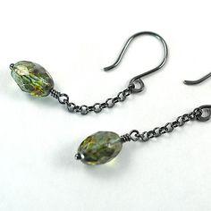 Sterling Silver Long Czech Glass Dangle Earrings