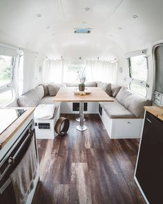 1976 Airstream Renovation - plain, white shades,