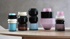 Vases Totem en verre soufflé et céramique, Marie-Victoire Winckler